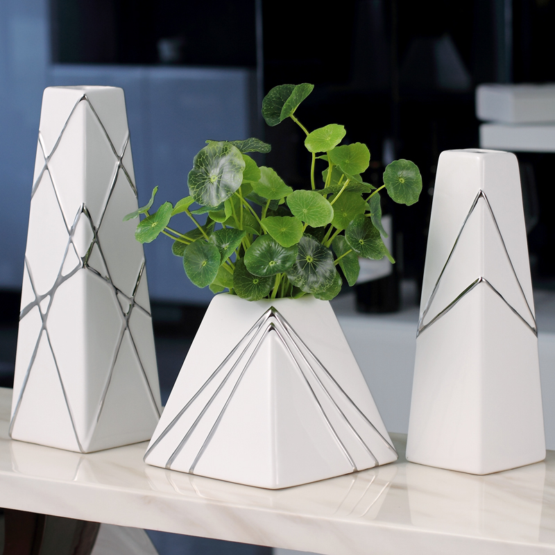 Moderne en céramique créative carré fleur vase décor à la maison artisanat chambre décoration ornements de mariage TV armoire vin refroidisseur vase cadeaux