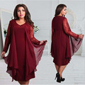 Long sleeve Lace summer Dress big sizes 2017 new  summer plus size women clothing dress red Knee-Length dress vestidos L-6XL