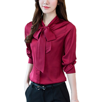 Fashion Office Bow Tie Blouses Women Long Sleeve Imitation Silk Women Shirt Womens Tops Plus Size