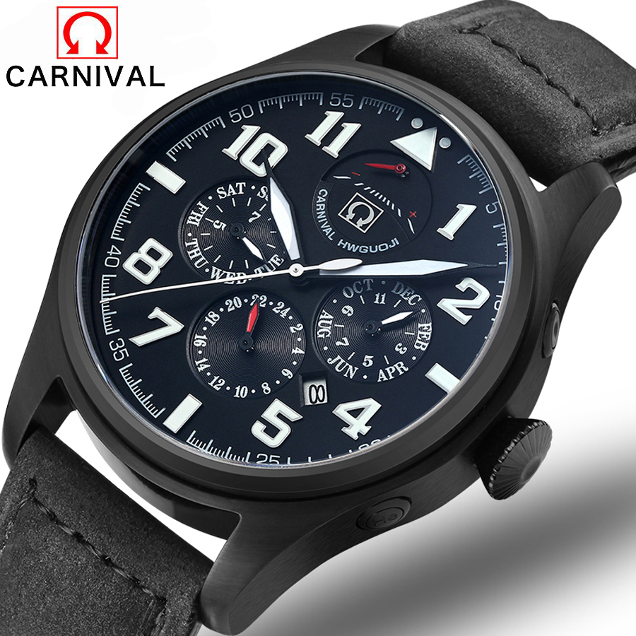 Carnival Watches Men Luxury Top Brand New Fashion Men's Big Dial Designer Quartz Watch Male Wristwatch relogio masculino relojes leather watches men luxury top brand grady new fashion men s designer quartz watch male wristwatch relogio masculino relojes