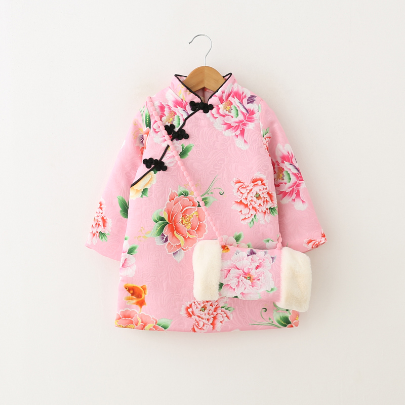Kids Chinese Style Dress For Girl Child Thick Warm New Year Dress Winter Autumn 6T 4T 5T Wedding Party Dresses Children Clothing children clothing new winter style knitted thick warm girl dress mesh patchwork o neck cute autumn baby kids girls dresses xl269
