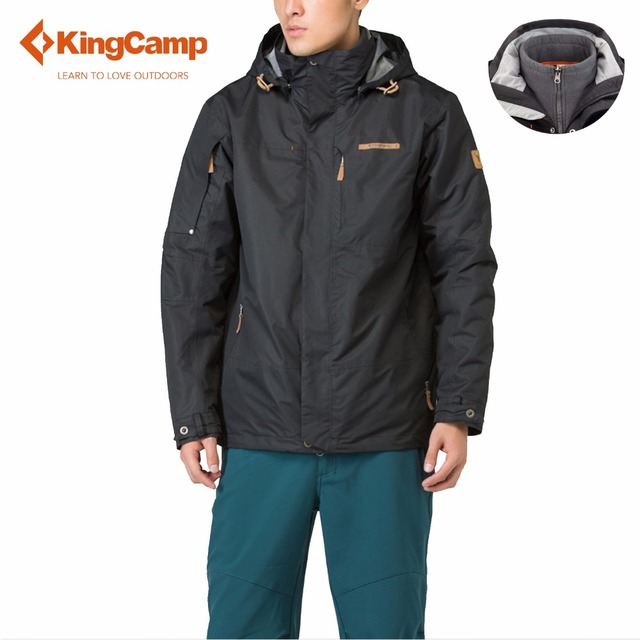 KingCamp Outdoor Sport Men Waterproof Climbing Hiking Clothes Skiing Winter Jacket Downhill Camping Fleece Coat Softshell