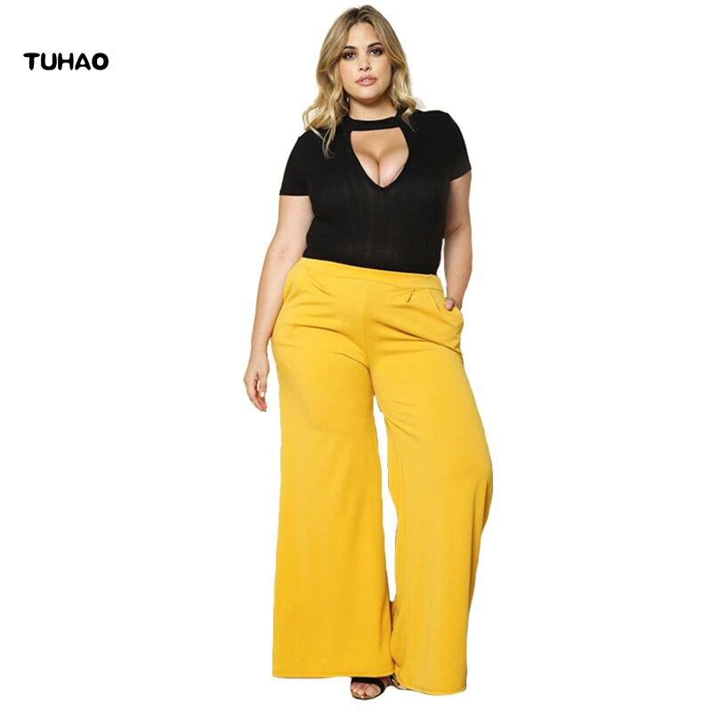 TUHAO Loose fashion Trousers 2018 autumn office lady Women Long   Wide     Leg     Pant   high waist plus size 2XL 3XL   Wide     Leg     Pants   BC100