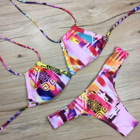 Swimwear Women Brazilian Bikini Color Colorful Bathing Suits Ladies Thong Bikinis Set String Swimsuit Cut Out