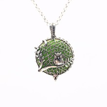 Branch Owl Tree of Life Vintage Silver Aroma Necklace Magnetic Closure Locket Essential Oil Diffuser Pendant Necklace Jewelry