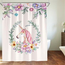 Cartoon Unicorn Shower Curtain Waterproof Polyester Thickened Toilet Partition Bathroom With Hooks Home Decor