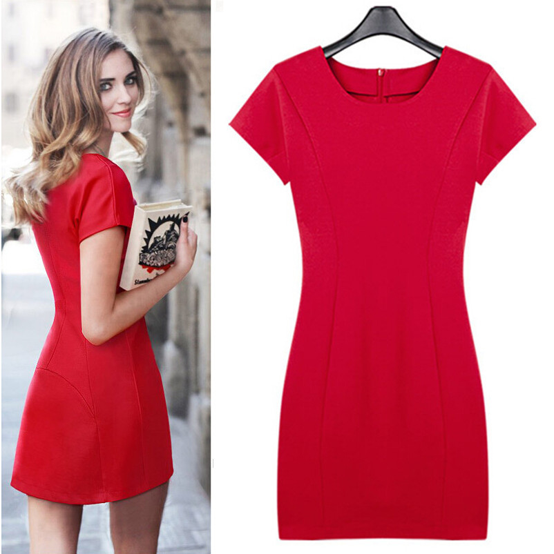 chili Elasticity design sexy tight casual red dress 2015 spain ...