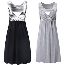Women's Sleeveless Nursing Dress Stripe Maternity Dress Breastfeeding Pregnancy Clothes Pregnant Women Summer Dresses Soft 4829(China)