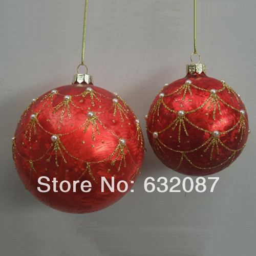 Red Glass Ball Set Beautiful Glass Christmas Ball Ornaments