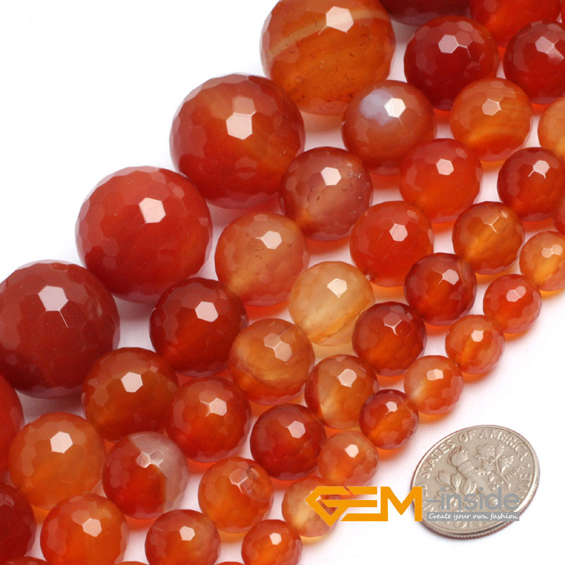 "Natural Stone Round Faceted Red Carnelian Beads For Jewelry Making Strand 15"" DIY Bracelet Necklace Jewelry Bead 6mm 8mm 10mm"
