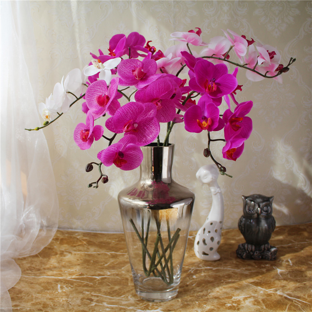 ⊹1pc Artificial Orchid Flower Fake Phalaenopsis Wedding Decorative ...