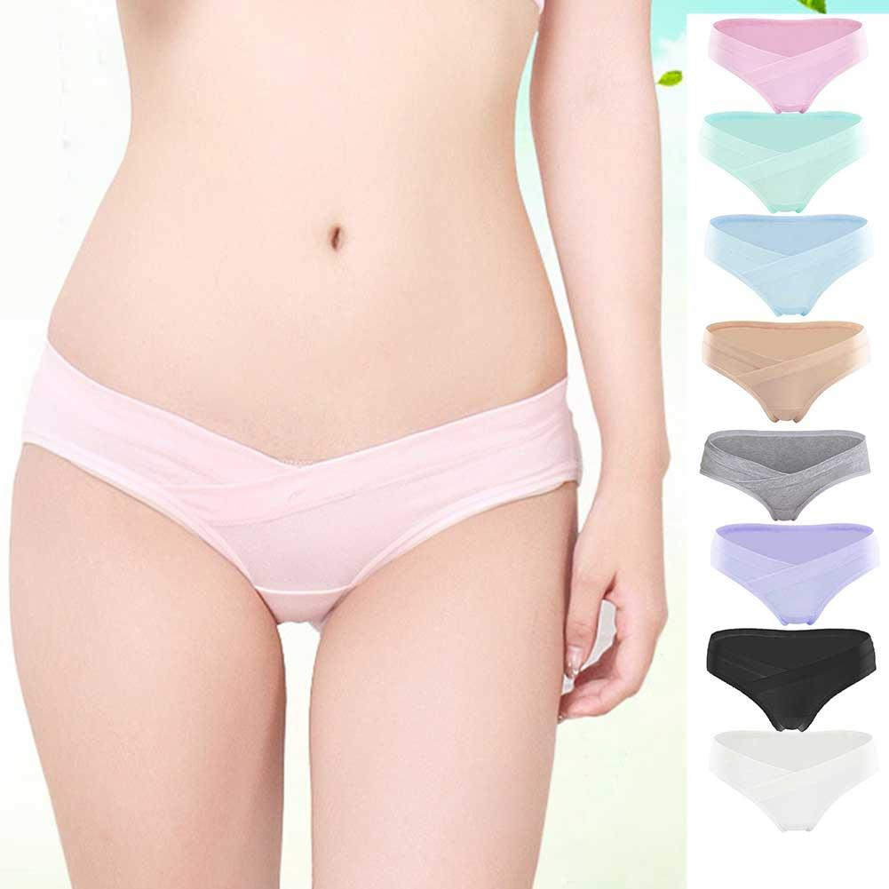 Pregnant Low Waist Underwear Girls u-Shaped Maternity Belts Cotton Breathable Large Size Elastic Solid Color Seamless Underwear