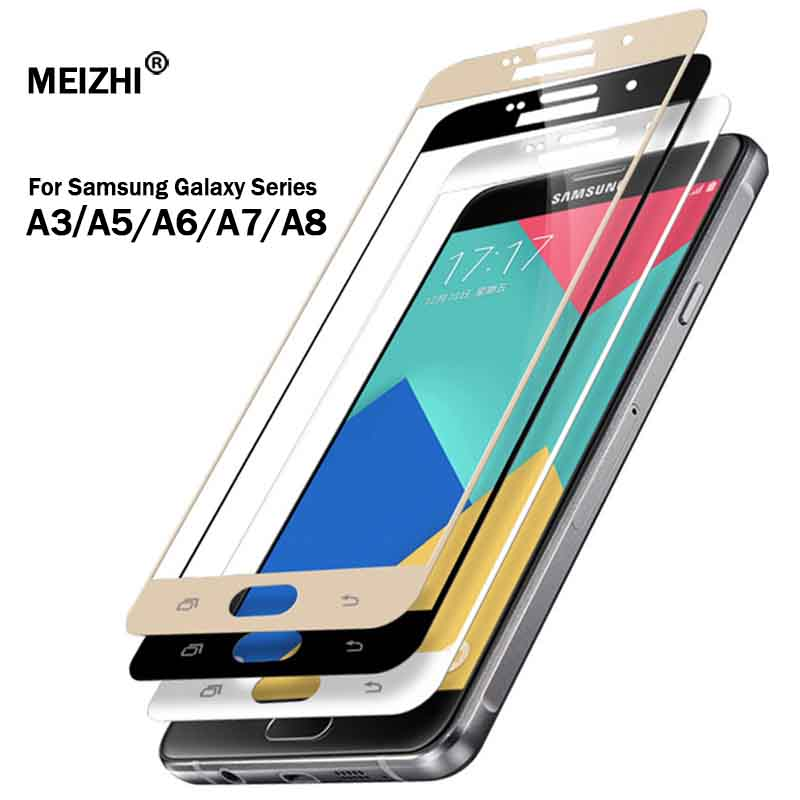 Protective glass on for samsung galaxy a5 a7 2016 2017 samsyng a6 a8 plus 2018 a3 a 5 7 5a samsumg screenprotector tremp glasses-in Phone Screen Protectors from Cellphones & Telecommunications