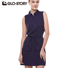 GLO-STORY Womens 2018 Casual Sleeveless Button Down Shirt Dress Woman Wear to Work Tunic Dresses with Pockets and Drawstring