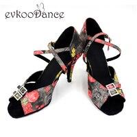 2017 Girls Latin Shoes Satin material Tan Black color Medium heel Womens Salsa dance shoes NL012