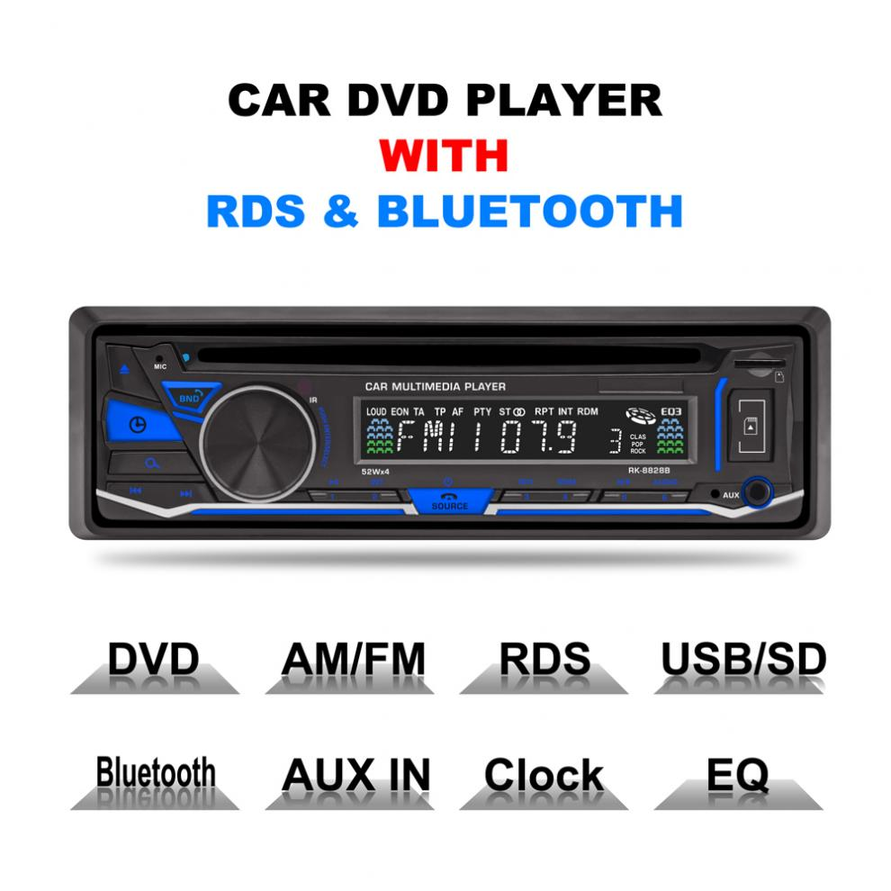 RK-8828B 12V 1 Din Bluetooth Car Reproductor de DVD VCD / SD / USB / AUX Radio AM / AM / FM / RDS incorporado