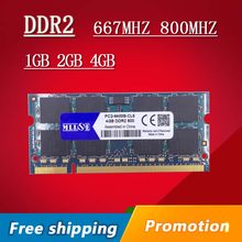 Mllse 1gb 2gb 4gb ddr2, 667 800mhz 667mhz 800 PC2-5300 PC2-6400 1g 2g memória ram sdram sodimm so-dimm, para laptop e notebook