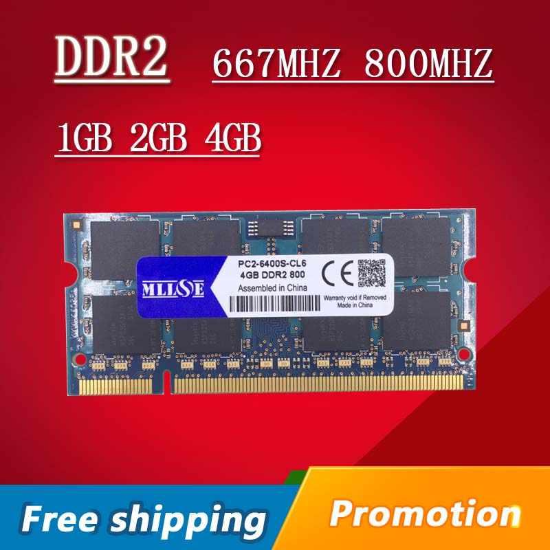MLLSE 1 gb 2 gb 4 gb DDR2 667 800 667 mhz 800 mhz PC2-5300 PC2-6400 1 גרם 2 גרם sodimm כך-dimm sdram זיכרון Ram Memoria עבור מחשב נייד מחברת