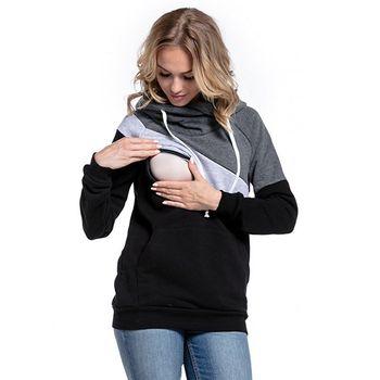 Plus rozmiar Ciąża karmiące długie rękawy ciążowe Odzież z kapturem karmienie piersią Tops patchwork T-shirt dla kobiet w ciąży tanie i dobre opinie Maternity Szczyty Tees Pełne Gradientu Poliester bawełna Czesankowa Hooded MisShow Regularne MC1444