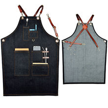 Black Denim Bib Apron w/ Leather Strap Barber Barista Florist Baker Bar Chef Uniform Tattoo Shop Carpenter Home BBQ Workwear K17