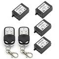 RF AC 220 V 1000 W 2X 4-botões Preto-sliver Transmissor 4X1 Relés de Canal Remoto Sem Fio Inteligente Interruptor de Luz de controle 433 Mhz