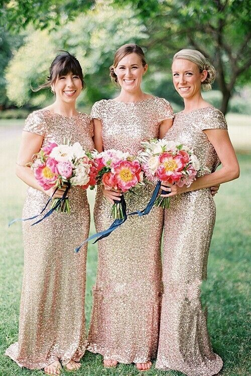 Gold Sequin Bridesmaid Dress Prom Dress