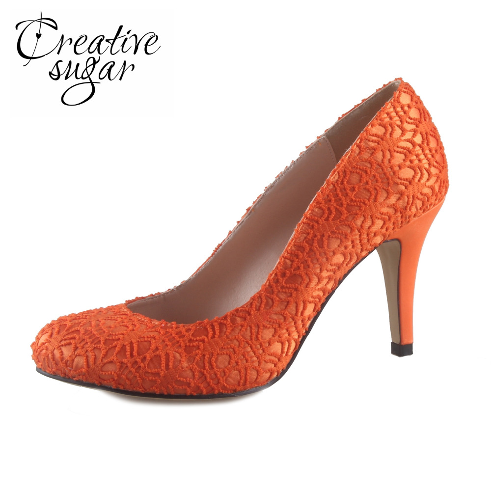 Creativesugar Handmade orange lace woman bridal shoes wedding party prom event pumps simple slip on 8cm heels custom order