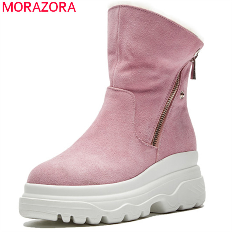 MORAZORA 2018 big size 34-41 ankle boots round toe cow suede leather platform boots zip fashion warm snow boots female shoes MORAZORA 2018 big size 34-41 ankle boots round toe cow suede leather platform boots zip fashion warm snow boots female shoes