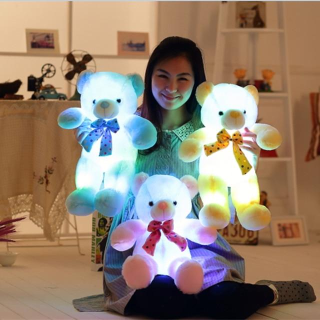 Красочные Светящиеся СВЕТОДИОДНЫЕ Glow Плюшевый Мишка Игрушки Light-Up Плюшевые Куклы Подушка Рождественский Подарок 50 см