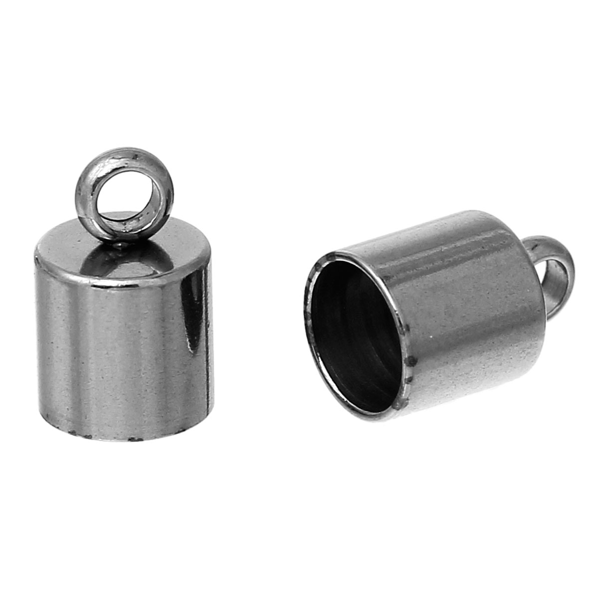 Stainless Steel Necklace Cord End Tips Cylinder Gunmetal 9mm(3/8)x 6mm(2/8),30 PCs new