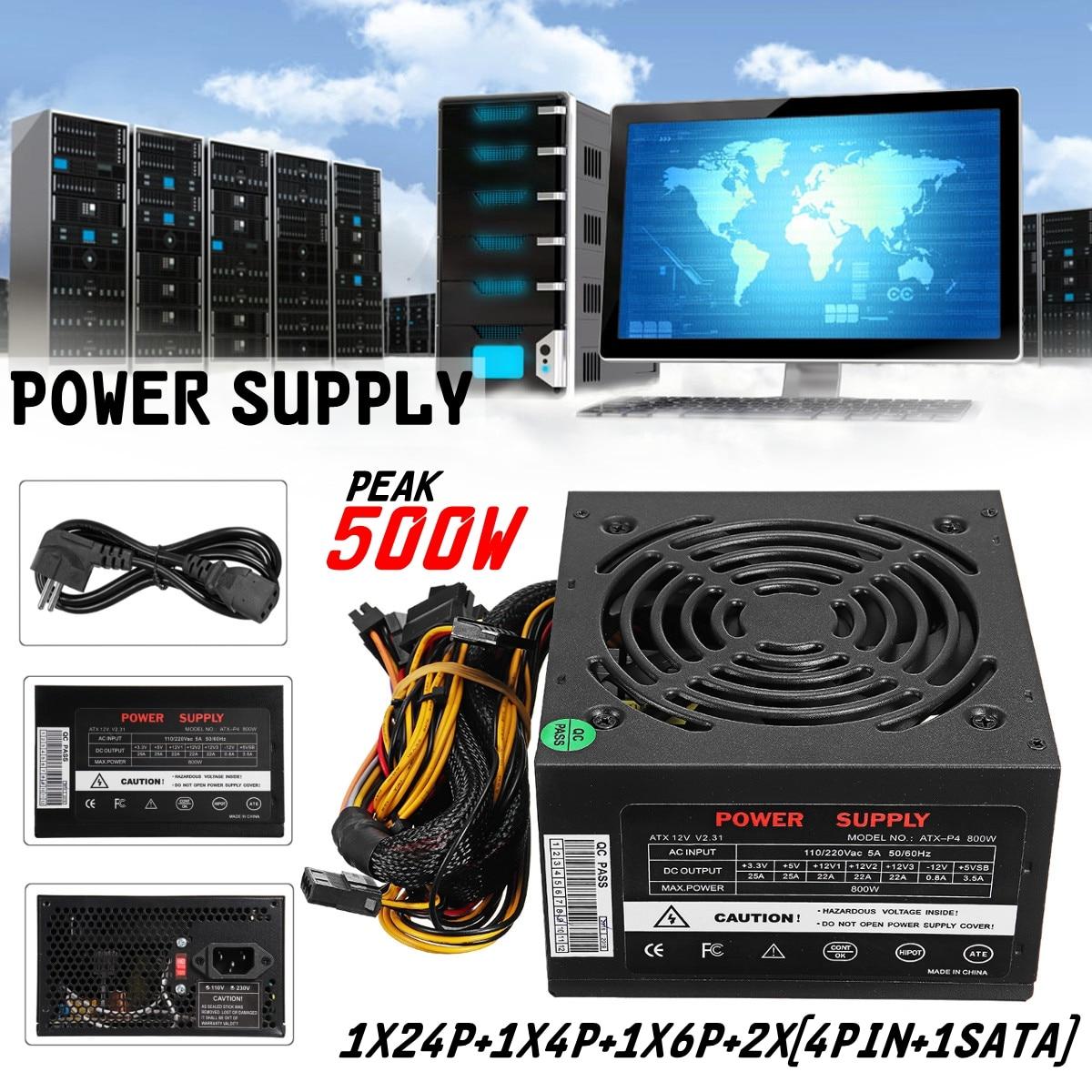 Black Max 500W PSU /PFC/ATX 24Pin SATA Gaming PC Power Supply For Intel AMD Computer Power Supply 400w desktop power supply max 500w psu quiet power switching 12v atx btc sata power supply computer chassis for intel amd pc