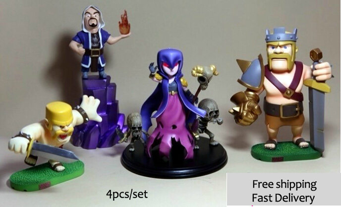 clash of clans 4 pz ( re strega   wizard , barbaria ) / set