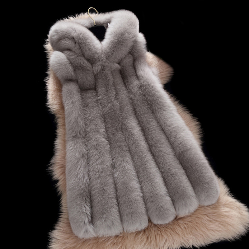 Nová zimní dámská šedá umělá kožešinová vesta s kapucí dámská móda luxusní tenký kabát Parka tlustá teplá kožešina kožichová podšívka PC108