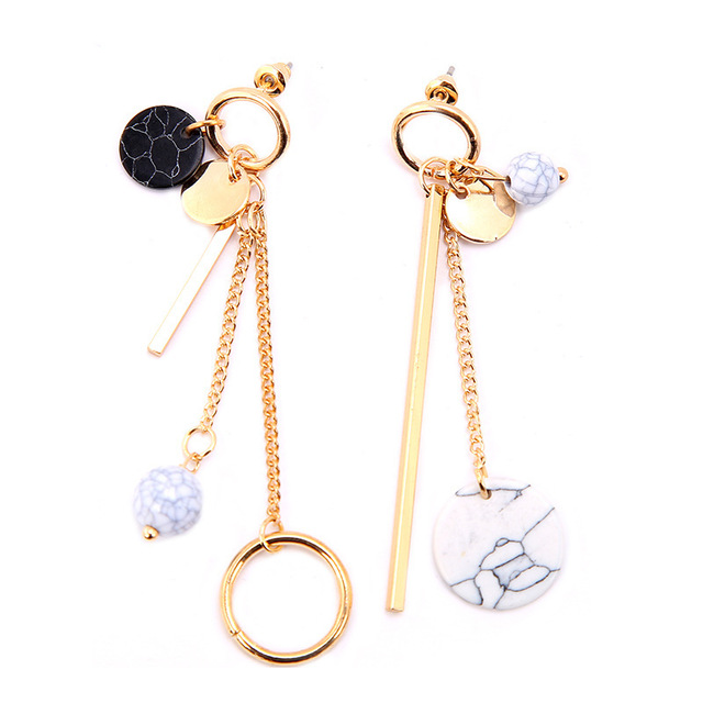 Long Style Earring And Stylish Female Asymmetrical Earrings Circle Pearl Tel Are Party Personality