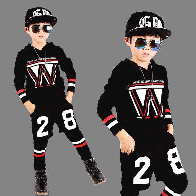 Дети хип-хоп clothing Хлопок Девушки Зима Мальчики Дети С Длинными рукавами Костюм Set Clothing Baby Вместе Спортивный Костюм Спортивной