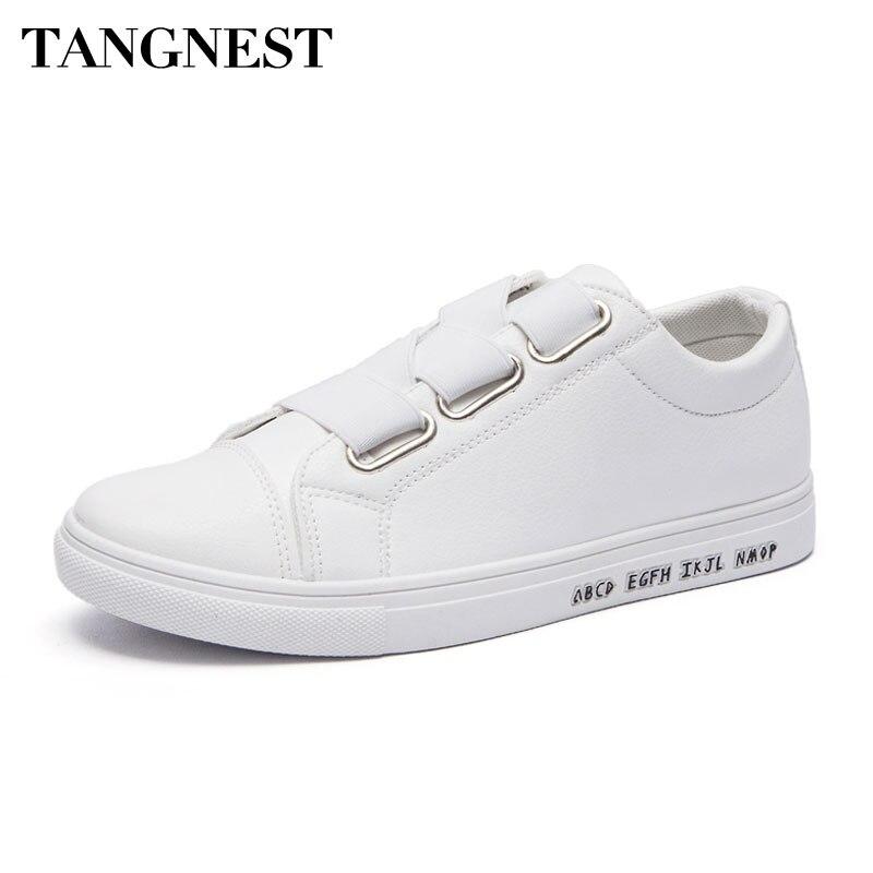 Tangnest Blanco Casual Zapatos Hombres Moda Lace Up Vulcanizan Los Zapatos Para