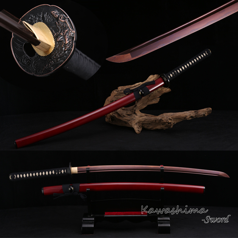Japanese Nihonto Imitated Damascus Folded Steel Handmade Full Tang Katana Samurai Sword Sharp Read for Cutting-Red