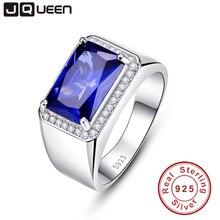 Роскошные 7ct синий сапфир кольцо Твердые 925 пробы серебряные ювелирные изделия изумруд дизайн Сказочный Шарм bague anel masculino