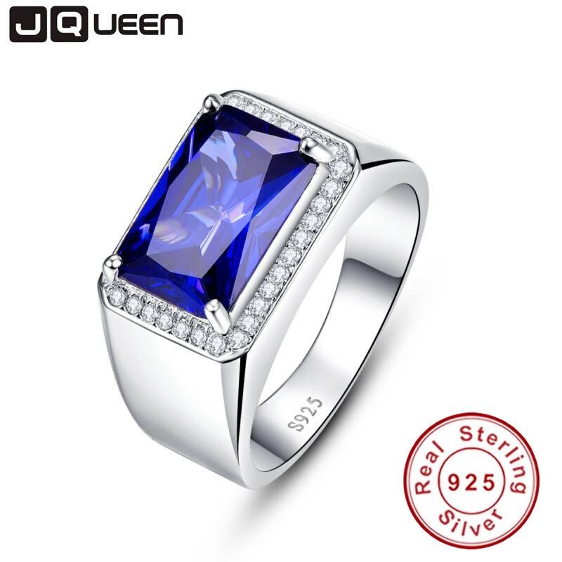 Luxe 7ct bague Saphir Bleu Solide 925 Bijoux en Argent Sterling Émeraude Design Charme Enchanteur bague anel masculino