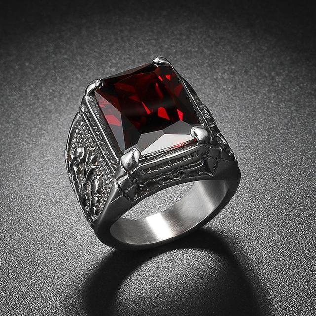 Vintage CZ Stone Men's Rings Punk Style 316L Stainless Steel Ring for Men Jewelry High Quality Men's Ring With Crystal