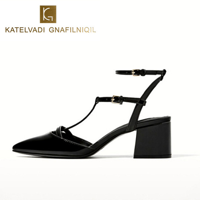 487e2bc091a Summer Shoes Woman Sandals Mid Heels Gladiator Sandals Women Shoes Black  Pointed Toe Ankle Strap Sandals