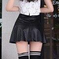 Mulheres saia de cintura alta PU bolsa saias Hip saia Plus Size plissado preto PU de couro do Vintage curto Mini saias