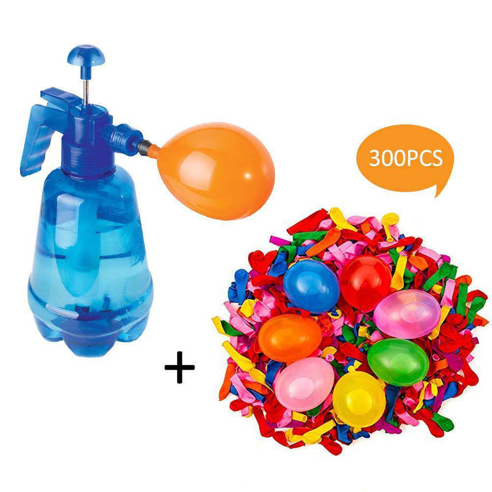 300 Pieces Set Blue Children's Water Balloon Pressure Sprinkler 3 In 1 Pump Spray Bottle Manual Water Inflation Ball Toy Balloon