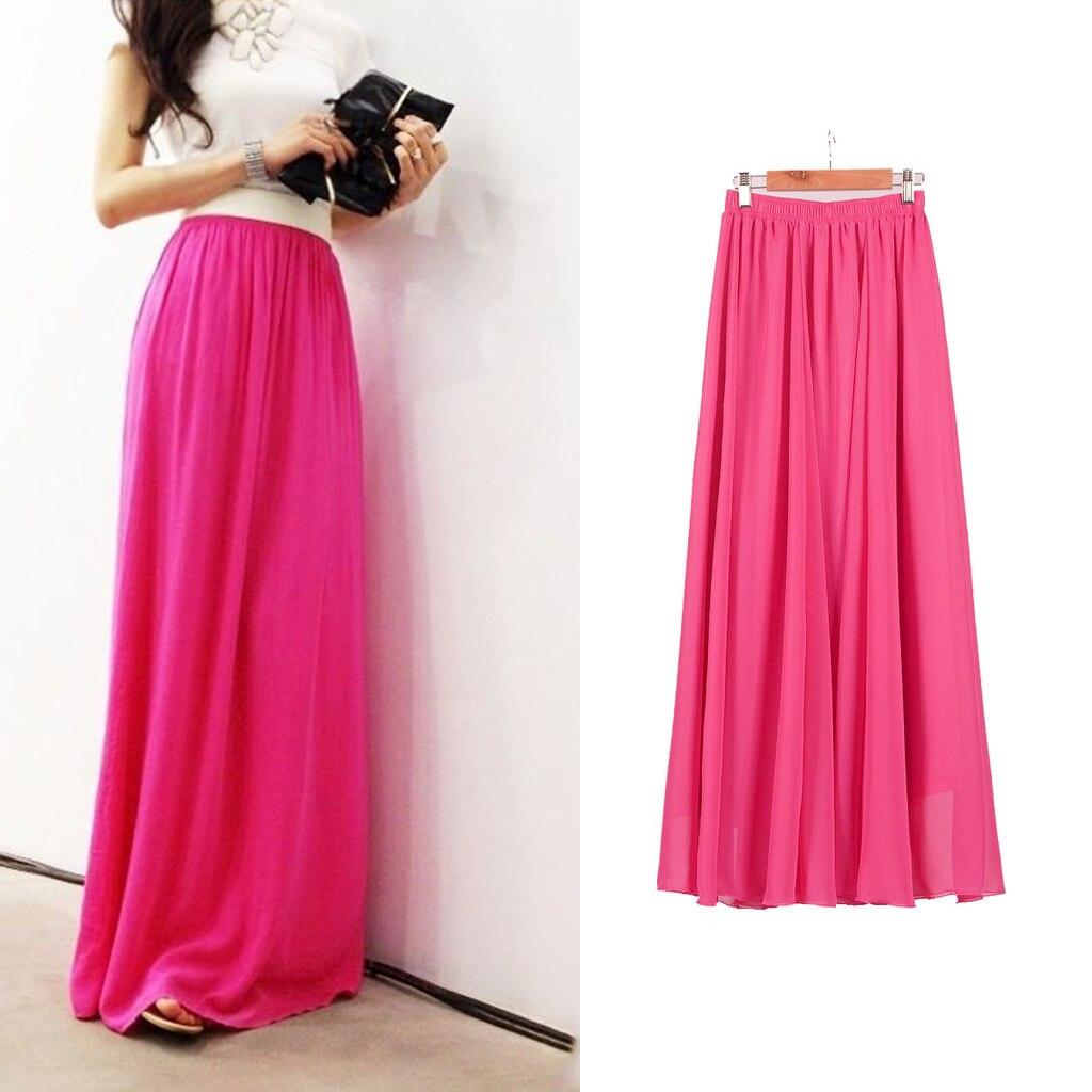 Sherhure Maxi-Skirt Boho Floor-Length Long Two-Layer Women High-Wasit Chiffon White Saias