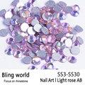 SS3-SS30 Light Rose AB Nail Rhinestones Del Arte Con Redondo Flatback Para Uñas de Arte Del Teléfono Celular Y Decoraciones de La Boda