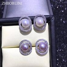 ZHBORUINI Fashion Pearl Earrings Jewelry Ellipse zircon Earring Freshwater 925 Silver For Women Wholesale