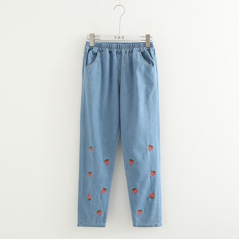 Japanese Kawaii Denim Pants Teen Girls Harajuku Cute Strawberry Embroidery Jeans Pants Elastic High Waist Autumn Denim Pants