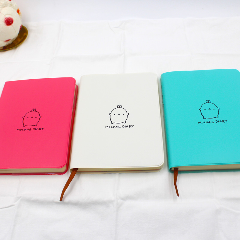 Cartoon Diary: Molang Diary With 2018 2019 Calendar Cute Rabbit Notebook