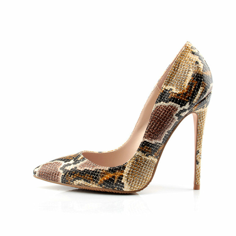2018Snake Printed Women Pumps Sexy Design Pointed Toe <font><b>12</b></font> <font><b>CM</b></font> <font><b>High</b></font> <font><b>Heels</b></font> Wedding Shoes Women Stilettos <font><b>Heels</b></font> Shoes Woman image