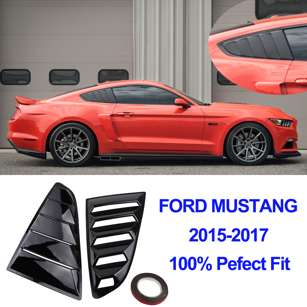 For Ford Mustang Carbon Fiber Black Quarter Panel Side Window Scoop Louver Cover